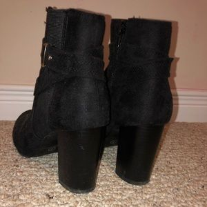 Shoes - Black ankle boots with gold belt detailing